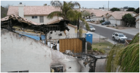 House with fire damage