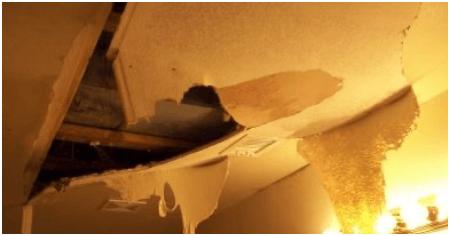 Broken ceiling due to water